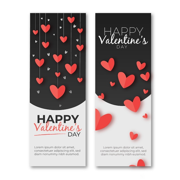Hand drawn valentines day banners Free Vector