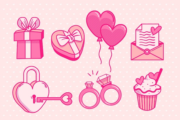 Hand drawn valentines day element collection Free Vector