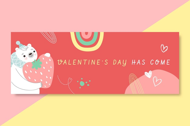 Hand drawn valentines day facebook cover template Free Vector