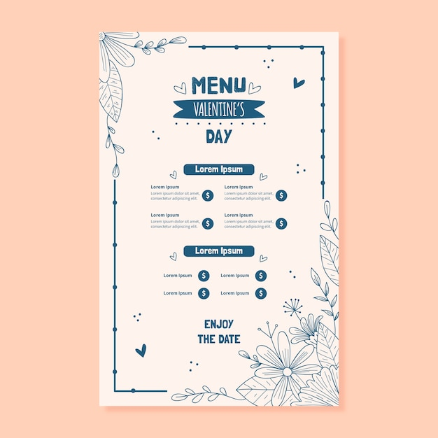 Hand drawn valentines day menu template Free Vector