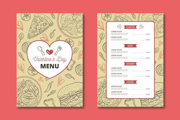 Hand-drawn valentines day menu Free Vector