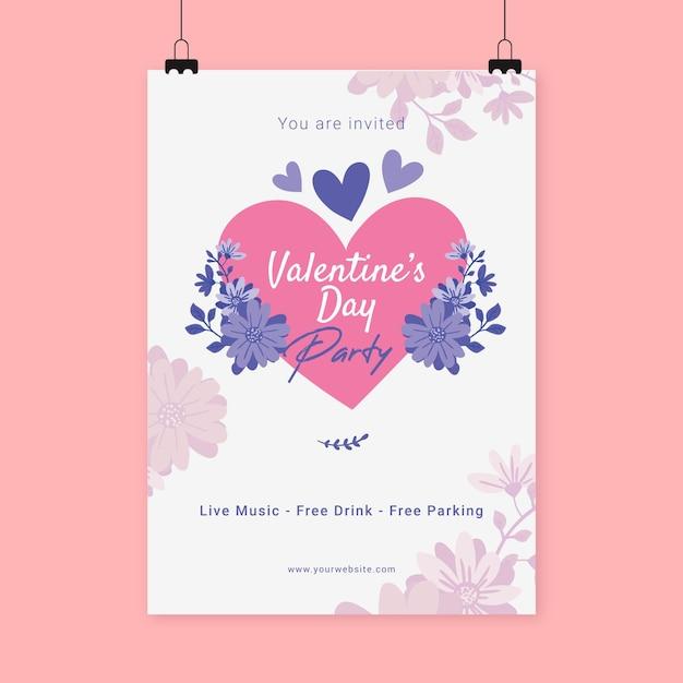 손으로 그린 발렌타인 파티 포스터 템플릿 무료 벡터