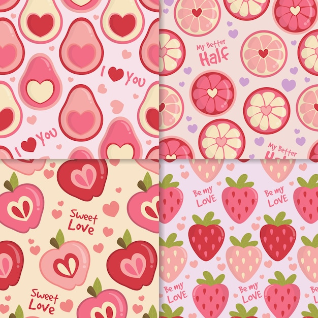 Hand drawn valentines day pattern collection Free Vector