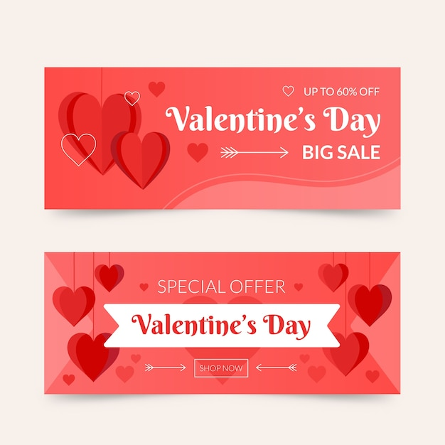 Hand-drawn valentines day sale banners Free Vector