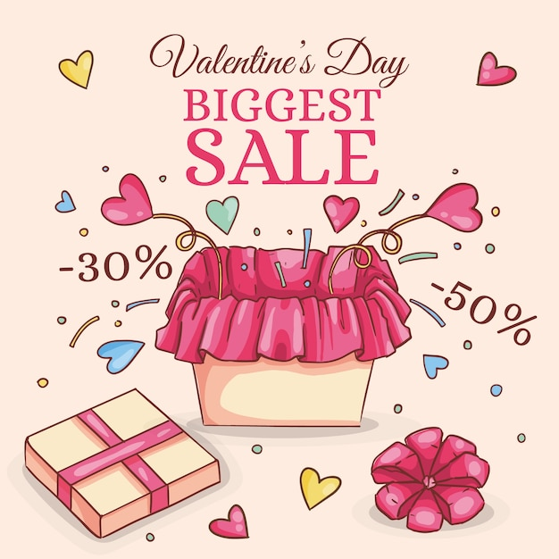 Hand-drawn valentines day sale Free Vector