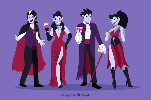 Hand drawn vampire character collection Free Vector