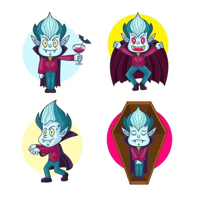 손으로 그린 뱀파이어 캐릭터 컬렉션 무료 벡터