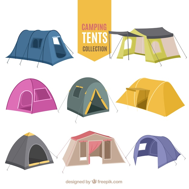 Hand drawn variety of camping tent collection Free Vector