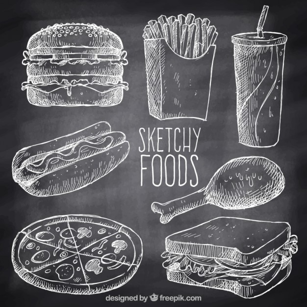 Hand drawn variety of fast food with chalk Free Vector