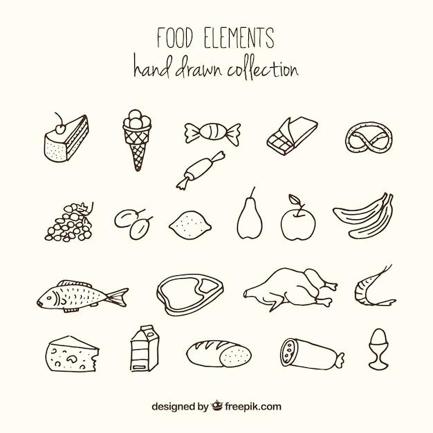 Hand drawn variety of foodstuffs Free Vector