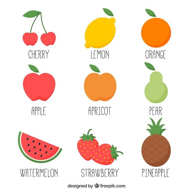 Hand drawn variety of fruits Free Vector