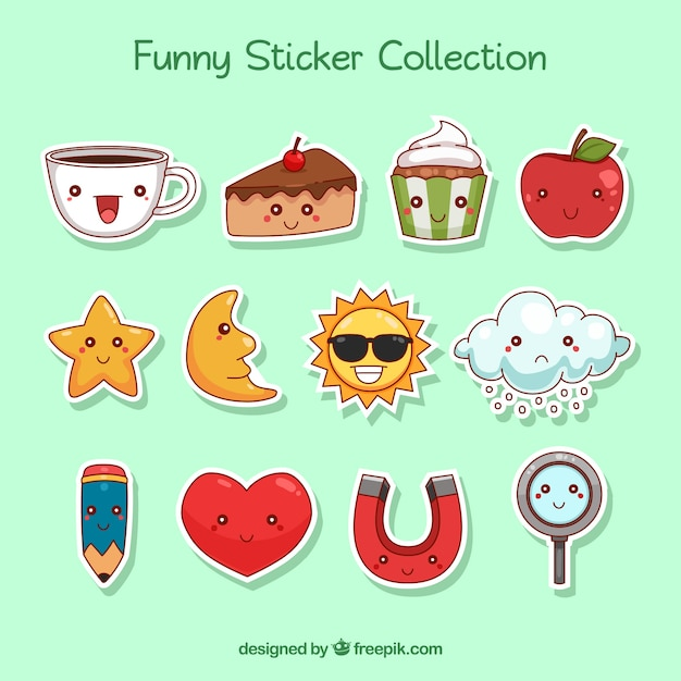 Hand drawn variety of fun stickers Free Vector