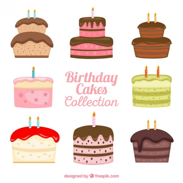 Hand drawn variety of birthday cakes Vector Free Download