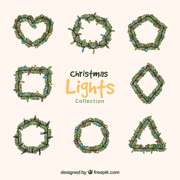 Hand drawn variety of christmas lights
