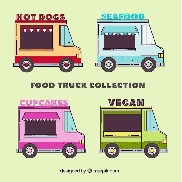 Hand drawn variety of colorful food trucks