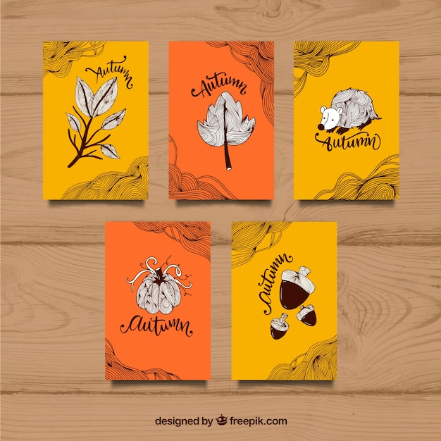 Hand drawn variety of fun autumn cards