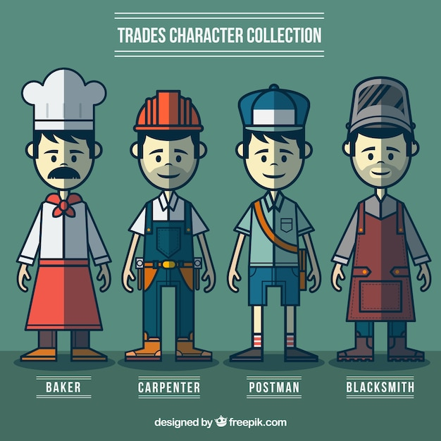 Hand drawn variety of workers Free Vector