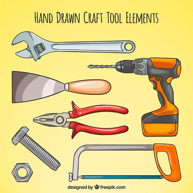 Disegno a mano i vari strumenti di carpenteria Vettore gratuito