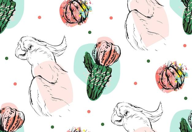 Ручной обращается вектор абстрактный коллаж бесшовные модели с тропическим попугаем и суккулентным цветком кактуса в пастельных тонах, изолированные на белом фоне. Premium векторы