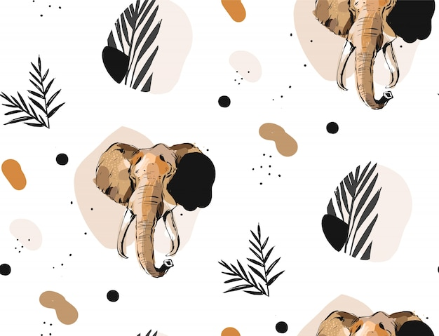 Hand drawn vector abstract creative graphic artistic illustrations seamless collage pattern with sketch elephant drawing and tropical palm leaves in tribal mottif isolated on white background Premium Vector