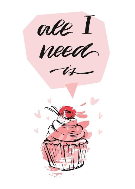 Вручите оттянутую векторную абстрактную текстурированную поздравительную открытку дня святого валентина с кексом, сердечками и рукописными современными чернилами, все, что мне нужно, находится в розовых пастельных тонах, изолированных на белом фоне. Premium векторы