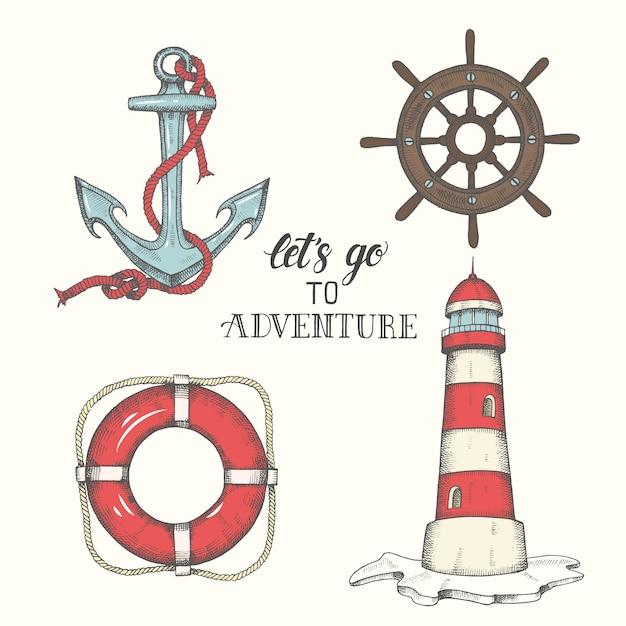 Hand drawn vector anchor, lighthouse, lifebuoy and wheel Premium Vector