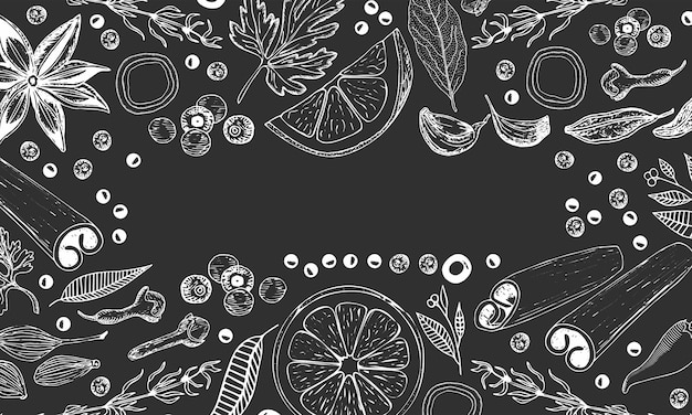 Hand drawn vector background for kitchen: spices, herbs, fruits. Premium Vector
