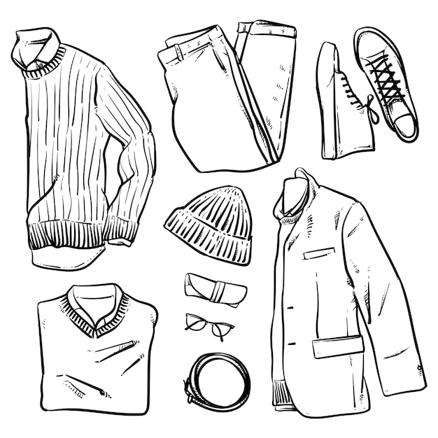 Hand drawn vector clothing and accessories Premium Vector