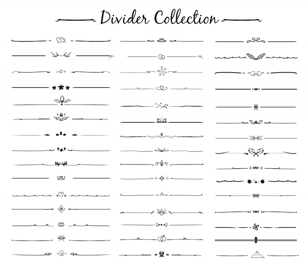 Hand drawn vector of divider ornament set Premium Vector