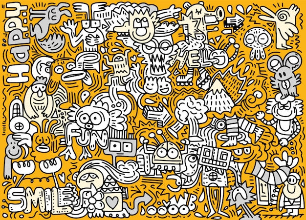 Hand drawn vector illustration of doodle funny world Premium Vector
