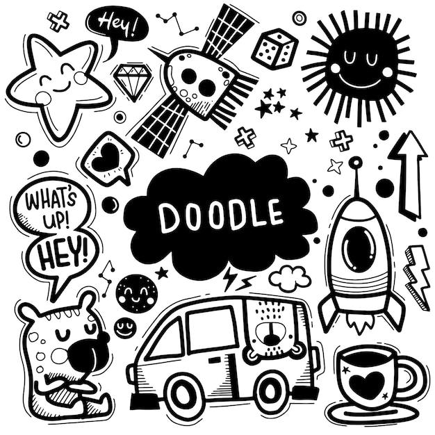 Hand drawn vector illustration of doodle set ,illustrator line tools drawing,flat design Premium Vector