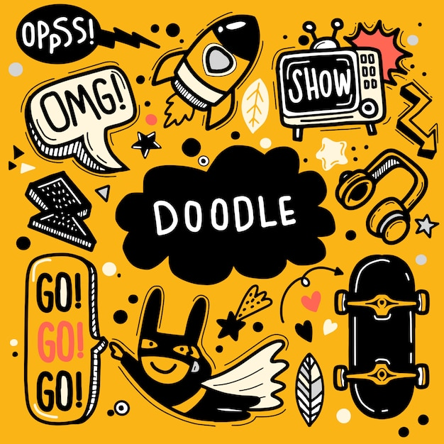 Hand drawn vector illustration of doodle set ,illustrator line tools drawing,flat design Premium Vector