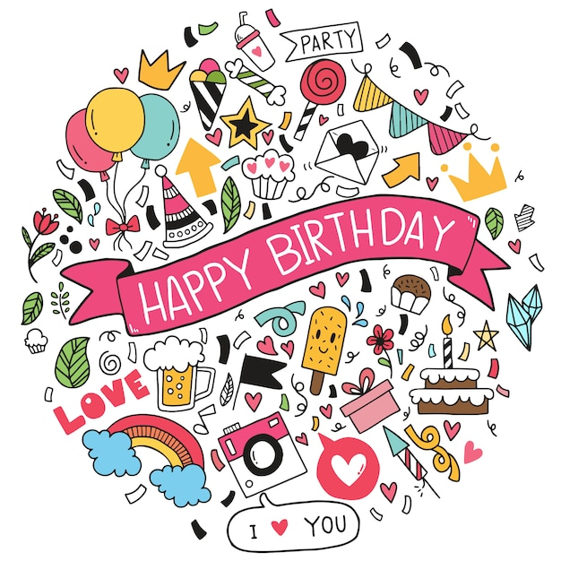 手描きの背景イラストお誕生日おめでとう飾りフリーハンド描画落書き要素パーティー プレミアムベクター