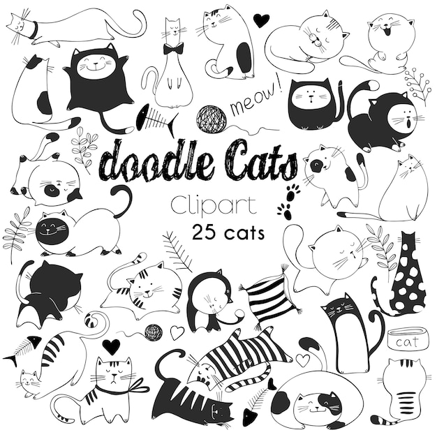 Hand drawn vector illustrations of cats characters. sketch style. doodle Premium Vector
