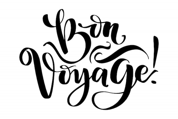 Hand drawn vector lettering. bon voyage word by hands. Premium Vector
