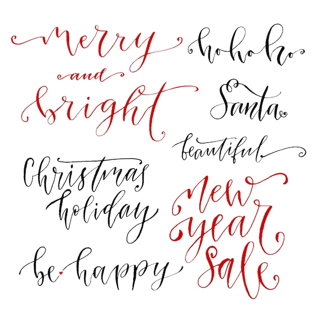 Hand drawn vector lettering. New Year modern calligraphy collection ...