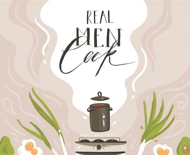 Ручной обращается вектор современный мультфильм кулинарный класс иллюстрации с подготовкой еды сцены, суповая кастрюля, овощи и настоящие мужчины готовят рукописную современную каллиграфию, изолированные на белом фоне Premium векторы