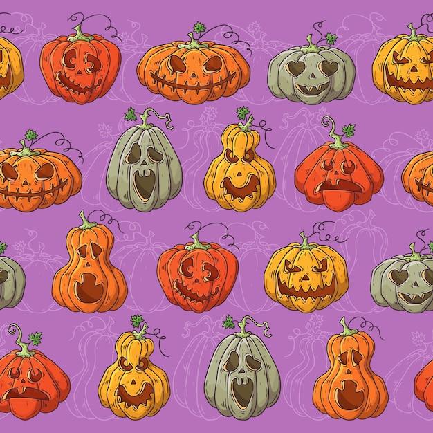 Hand drawn vector pattern with halloween pumpkins. Premium Vector