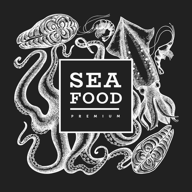 Hand drawn vector seafood illustration on chalk board. engraved style Premium Vector