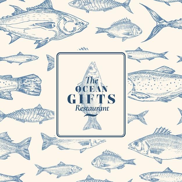 Ручной обращается вектор бесшовные модели. карточка пакета рыбы или шаблон обложки с эмблемой подарков океана морского окуня. фон сельдь, анчоусы, тунец, дорадо, сибас и лосось. Premium векторы