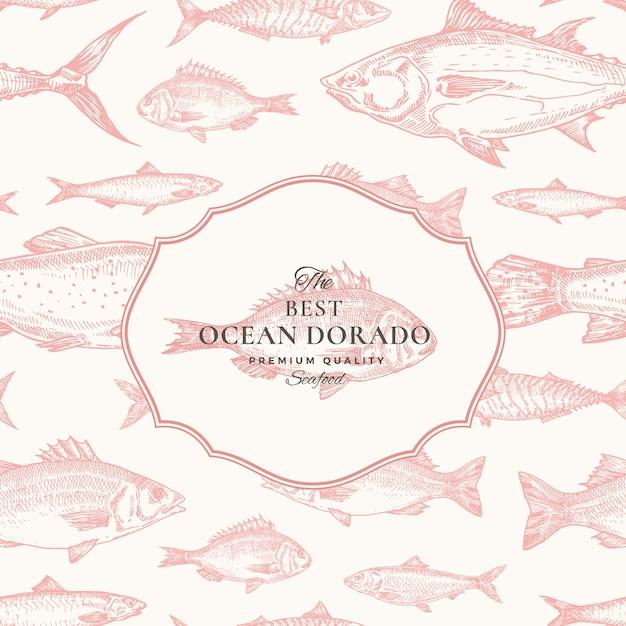 手描きベクトルシームレスパターン。魚のパッケージレッドカードまたはオーシャンドラドエンブレム付きカバーテンプレート。ニシン、アンチョビ、マグロ、ドラダ、シーバス、サーモンの背景。 Premiumベクター