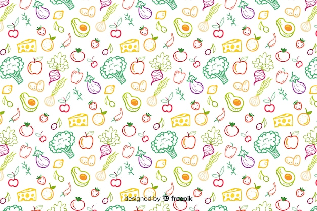 Hand drawn vegetables and fruit pattern Premium Vector