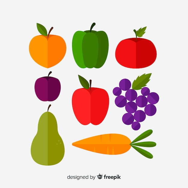 Hand drawn vegetables and fruits pack Free Vector