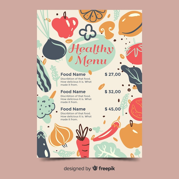 Hand drawn vegetables healthy menu template Free Vector