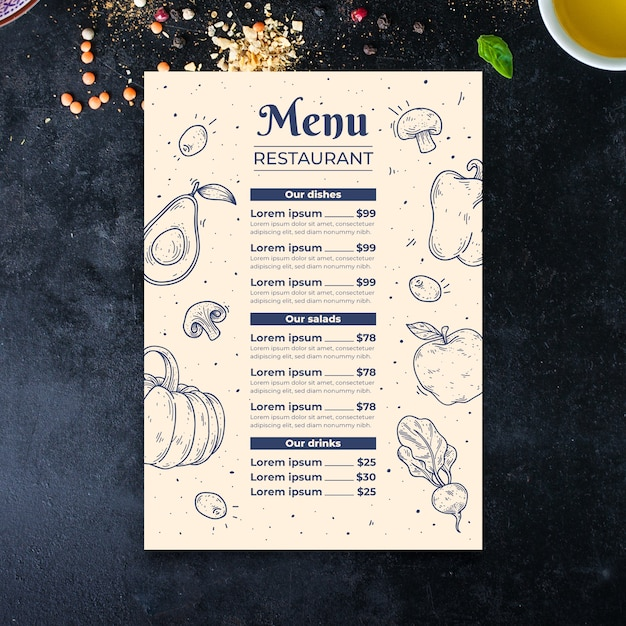 Hand drawn vegetables menu template Free Vector