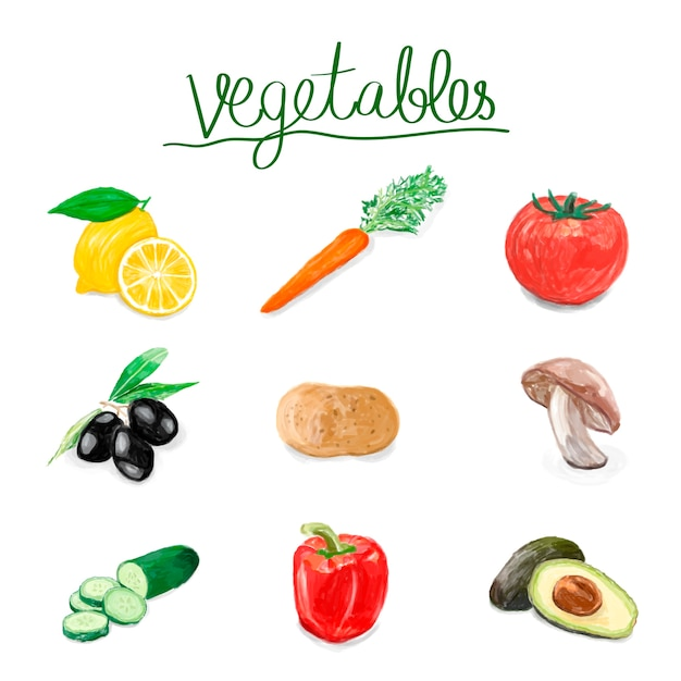 Hand drawn vegetables watercolor style Free Vector