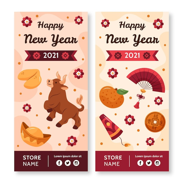 Hand-drawn vertical banners for chinese new year Free Vector