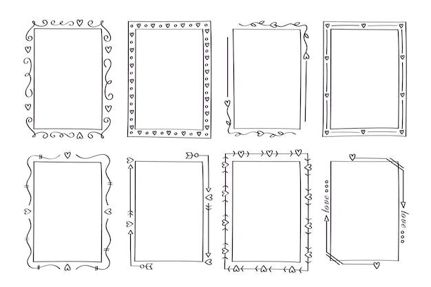 Коллекция рисованной вертикальной декоративной рамки Бесплатные векторы