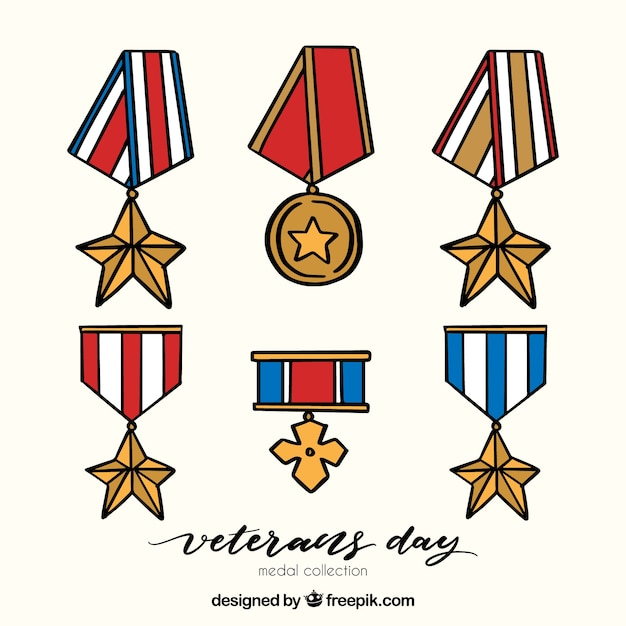 Hand drawn veterans day badges