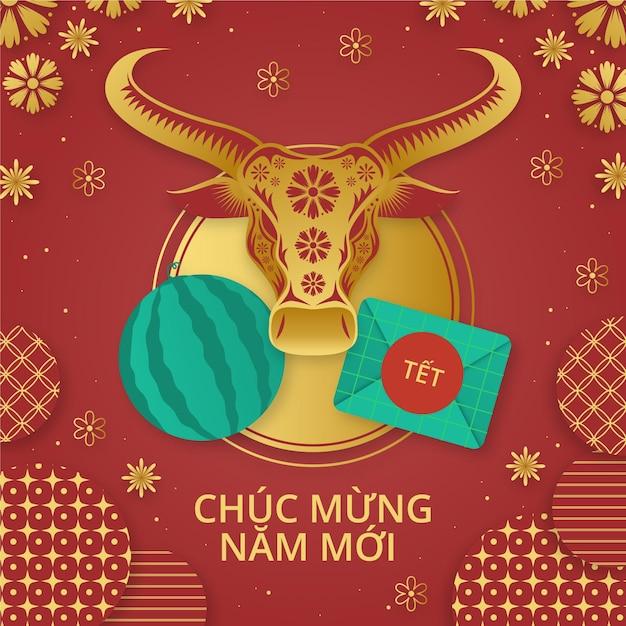 Capodanno vietnamita disegnato a mano Vettore gratuito